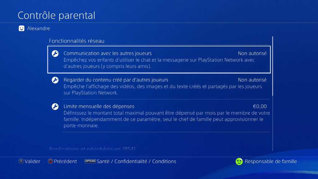 Controle parental Playstation Sony
